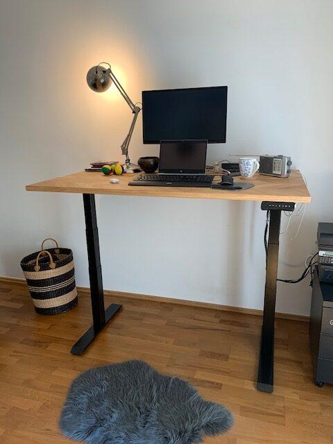 OAKDESK - biurko regulowane elektrycznie z blatem dąb naturalna krawędź premium 15