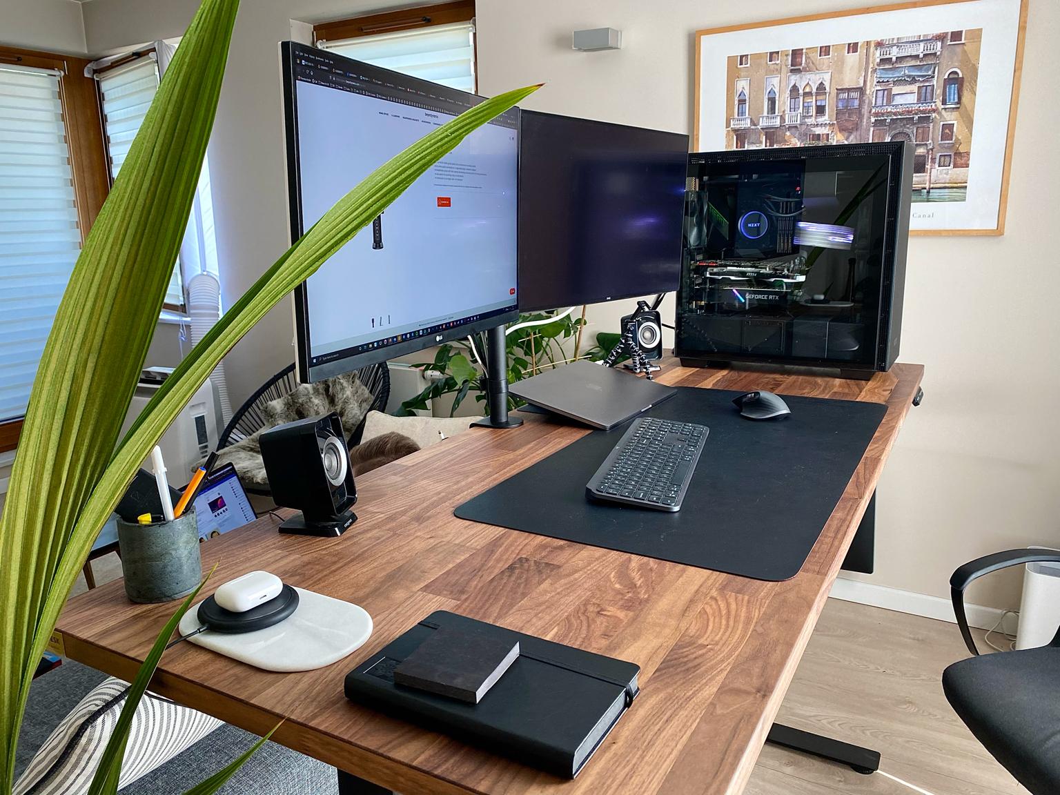 OAKDESK - biurko regulowane elektrycznie z blatem dąb naturalna krawędź premium 13