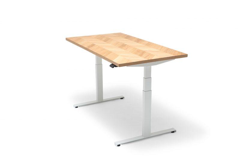 OAKDESK - biurko regulowane elektrycznie z dębowym blatem premium jodełka 1
