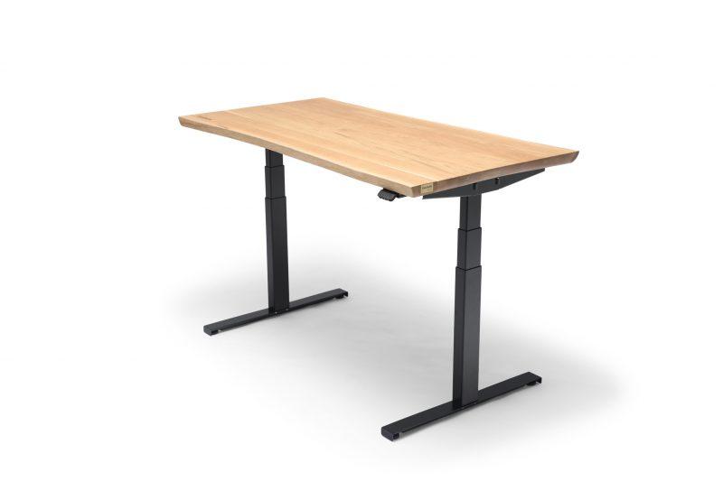 OAKDESK - biurko regulowane elektrycznie z blatem dąb naturalna krawędź premium 1